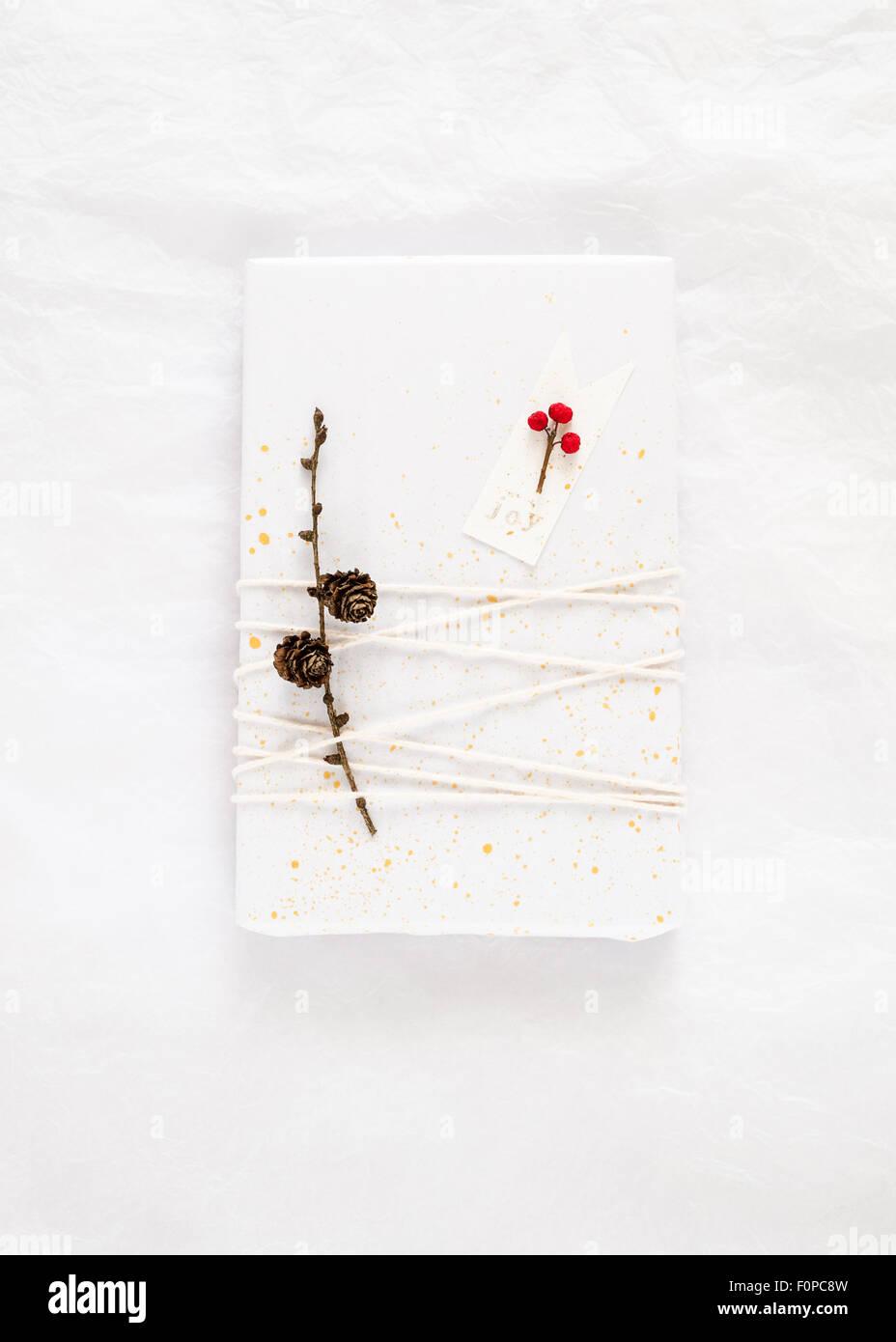 einfache Geschenkverpackung gemacht mit weißem Seidenpapier verziert mit spritzt Goldfarbe Bindfaden einen Stockbild