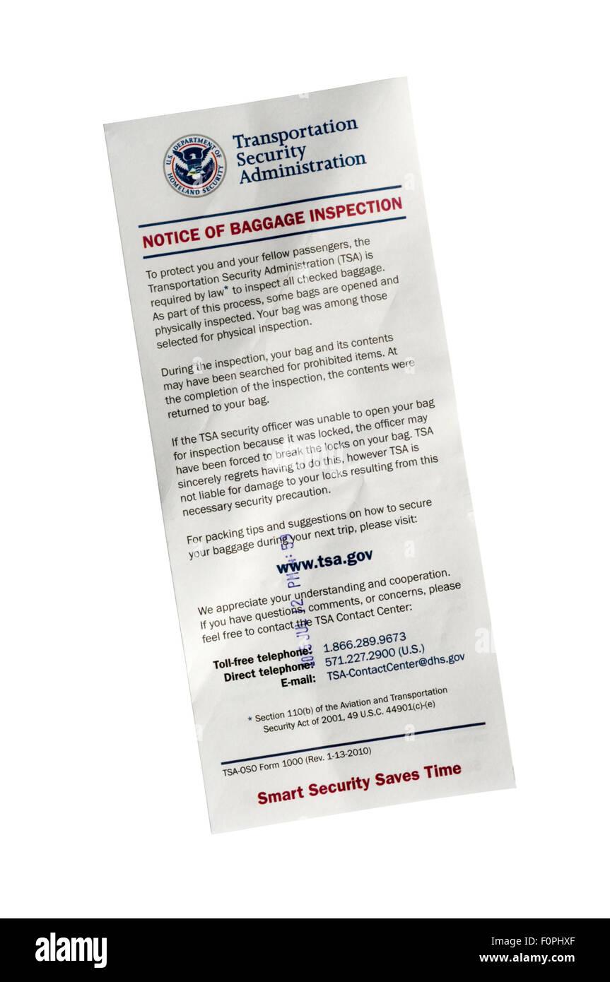 Eine amerikanische Transportation Administration Sicherheitshinweis der Gepäck-Kontrolle. Stockbild