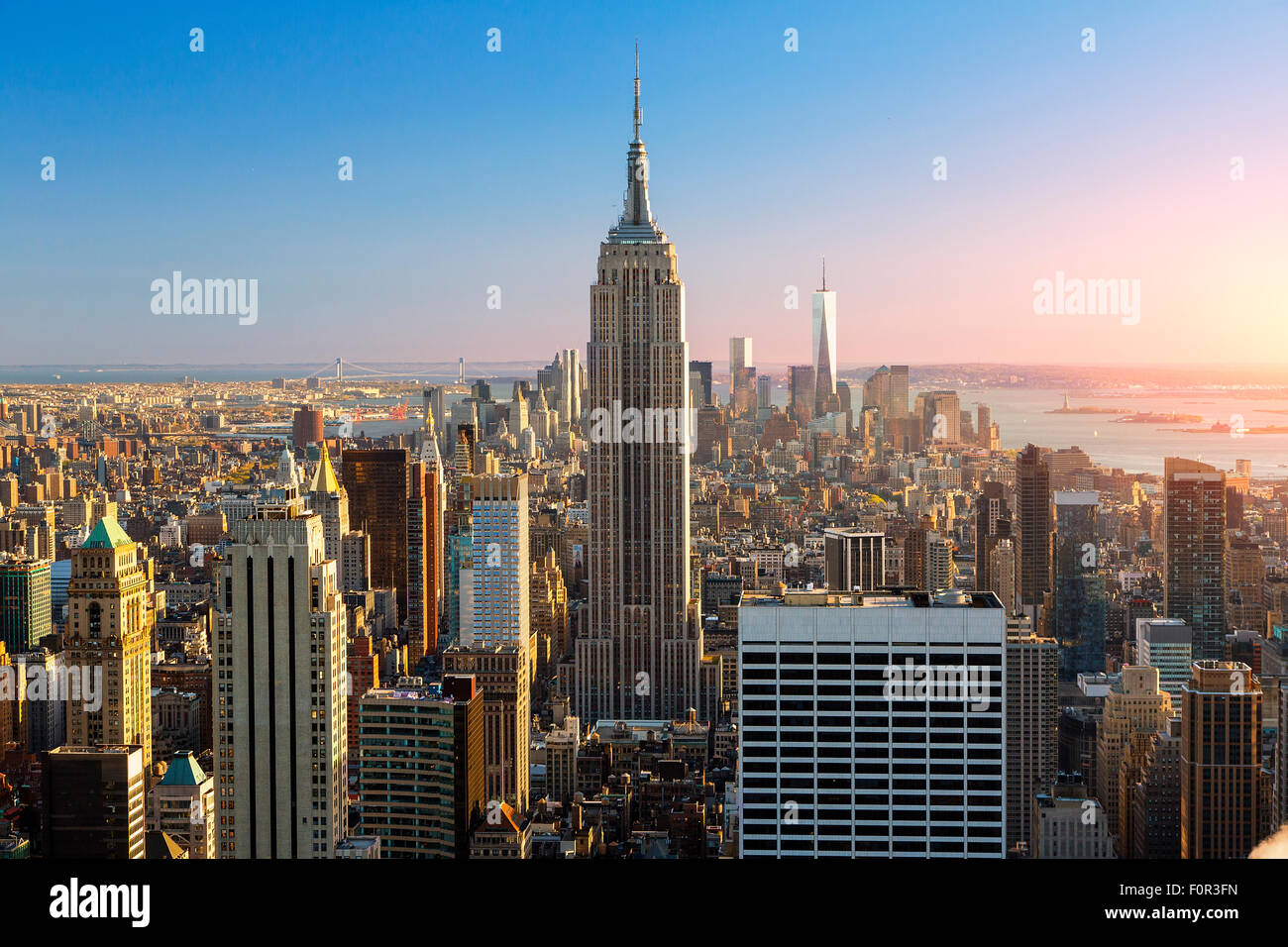 New York City, Empire State Building bei Sonnenuntergang Stockbild