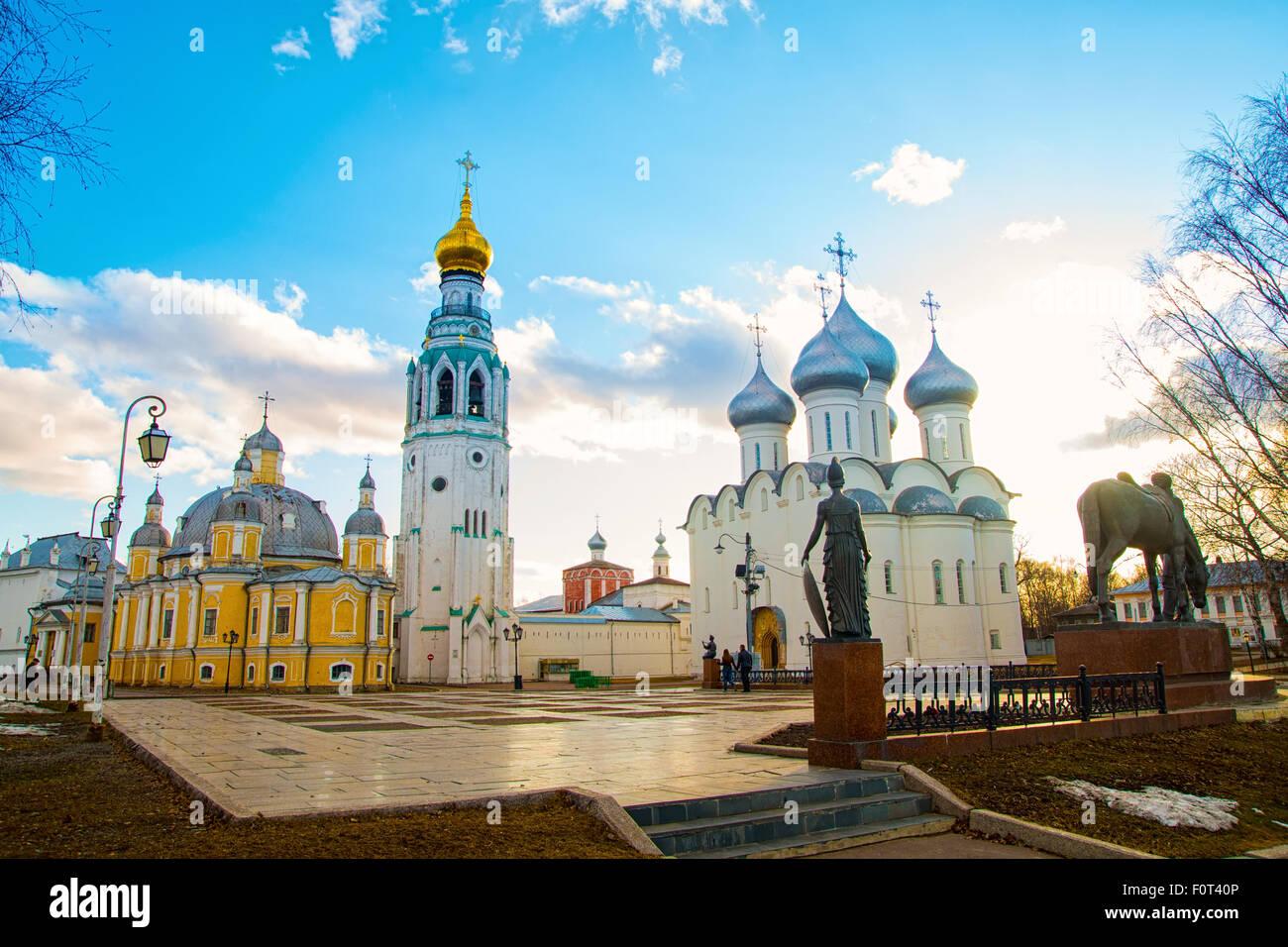 Sophia Cathedral und Bell Tower in der Stadt Vologda. Russland Stockbild
