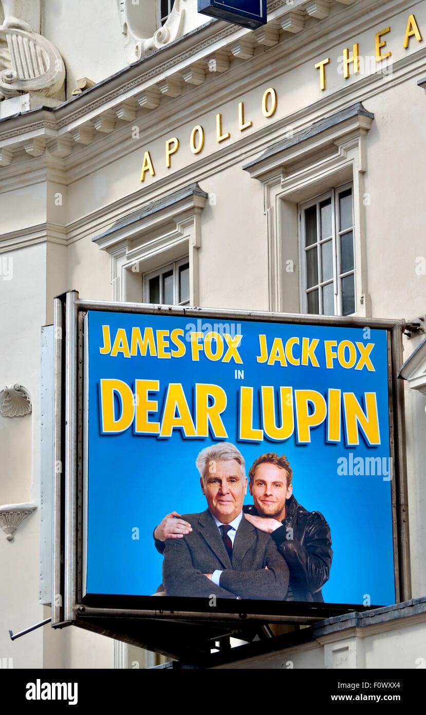 London, England, Vereinigtes Königreich. Sehr geehrte Lupin am Apoolo Theatre, Shaftesbury Avenue, starren Stockbild