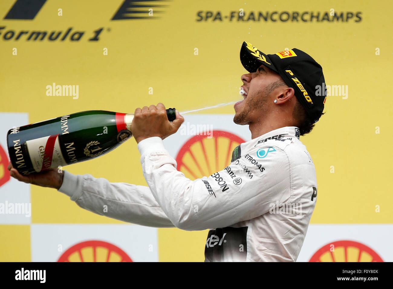 Spa, Belgien. 23. August 2015. FIA Formula One World Championship 2015, Grand Prix von Belgien, #44 Lewis Hamilton Stockbild