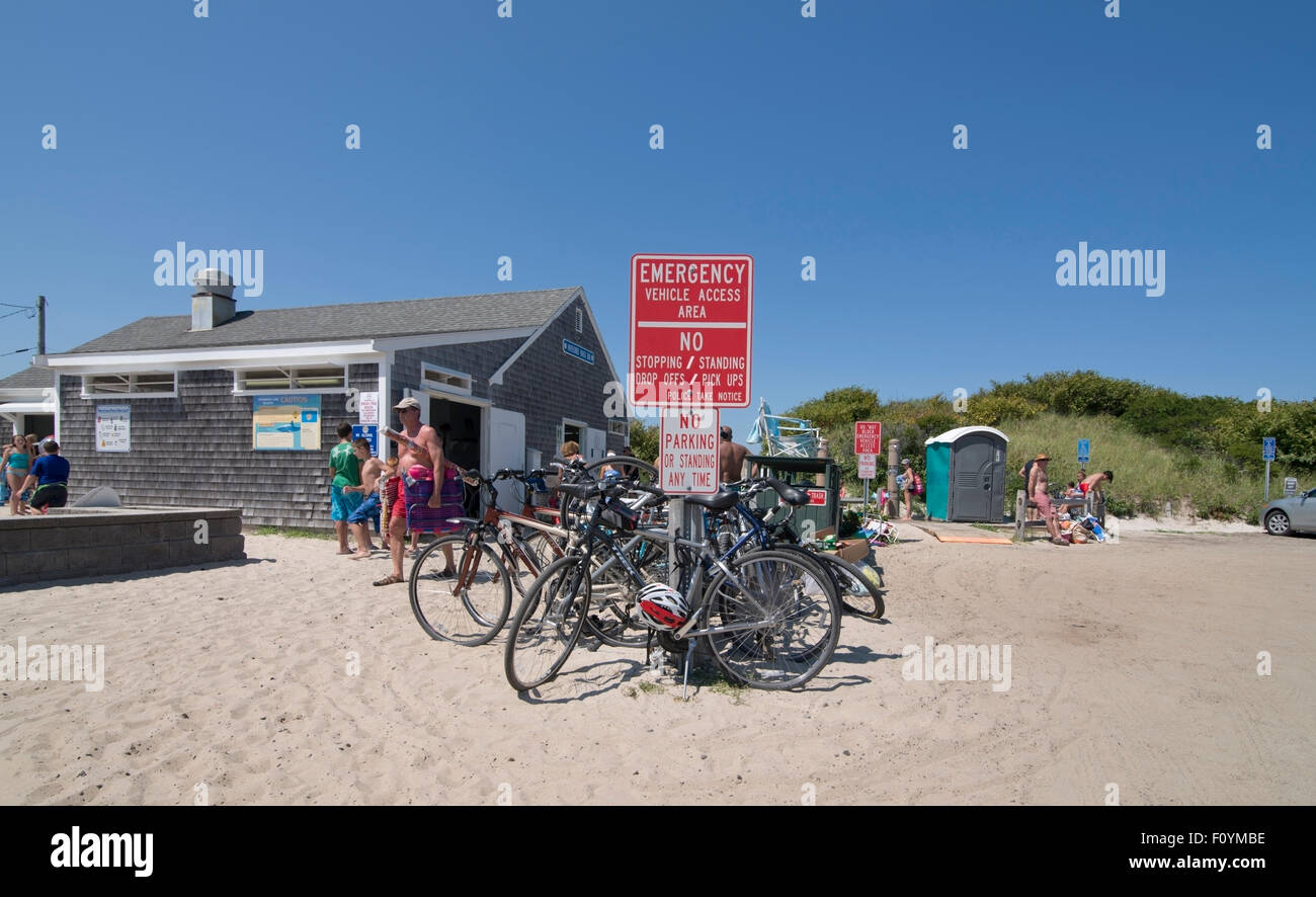 Eingang zum Mayflower Beach auf Cape Cod, Massachusetts Stockbild