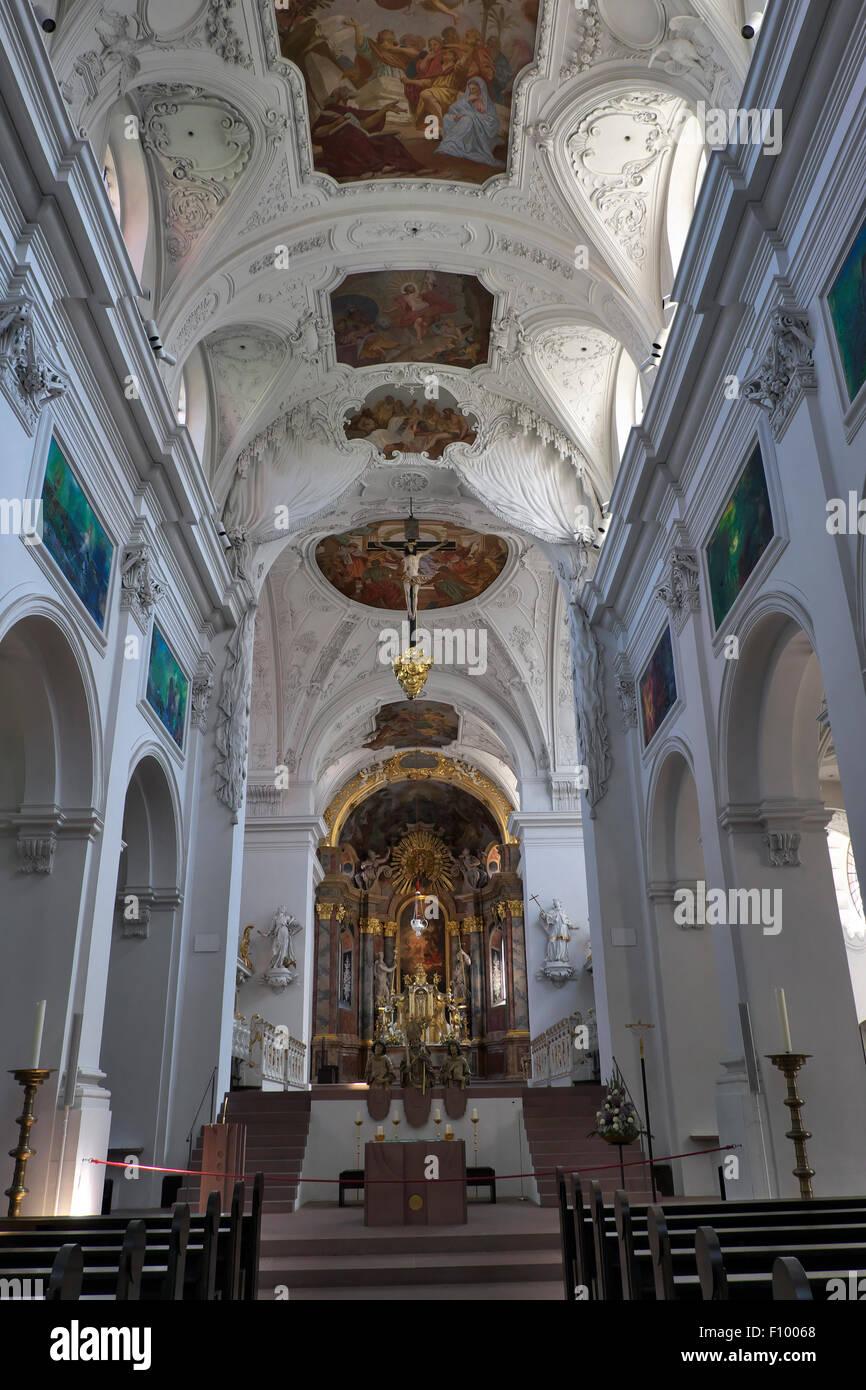 Innenansicht, Neumünster, Würzburg, untere Franken, Bayern, Deutschland Stockbild