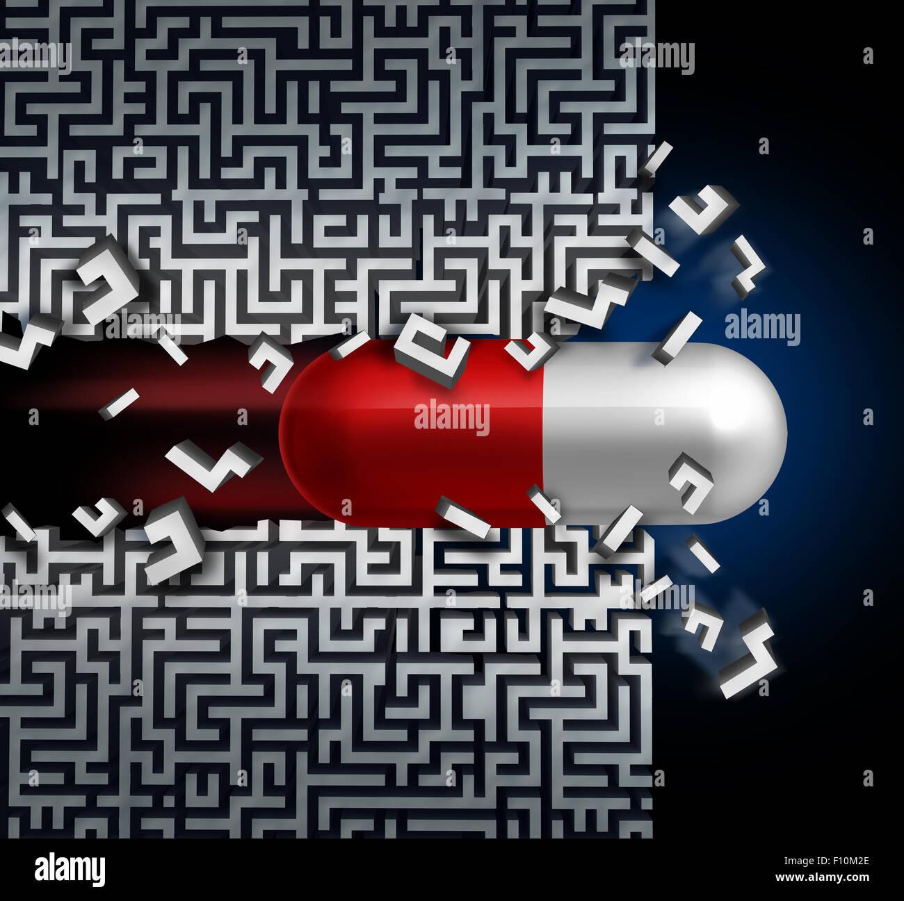 Medizinischer Durchbruch Konzept und ein erfolgreiches Medikament Entdeckung Symbol als Gesundheitswesen Medizin Stockbild