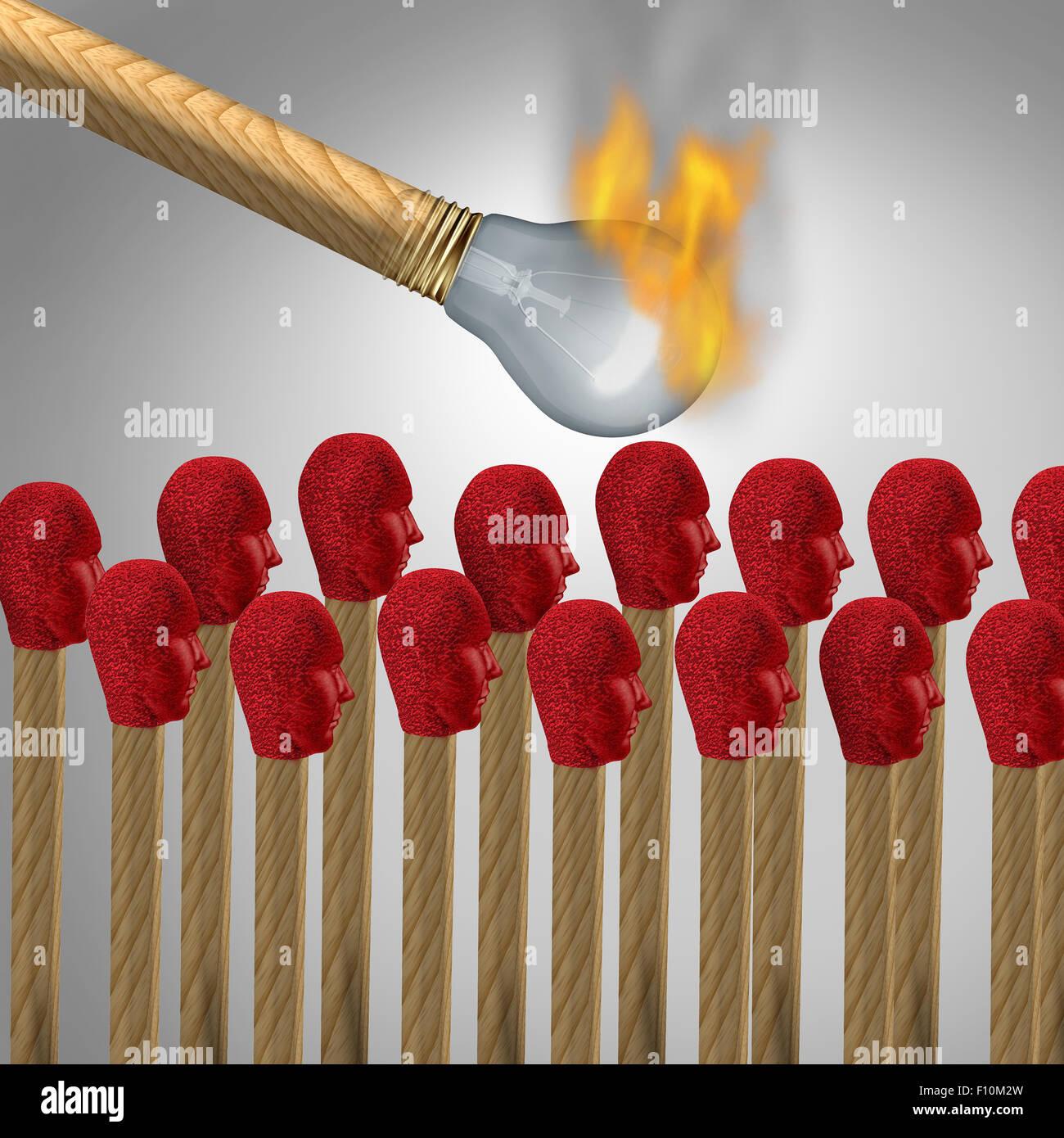 Ideen, die auf Konzept als virale Marketing-Symbol und verbreiten eine beliebte Idee oder Propaganda und sozialen Stockbild