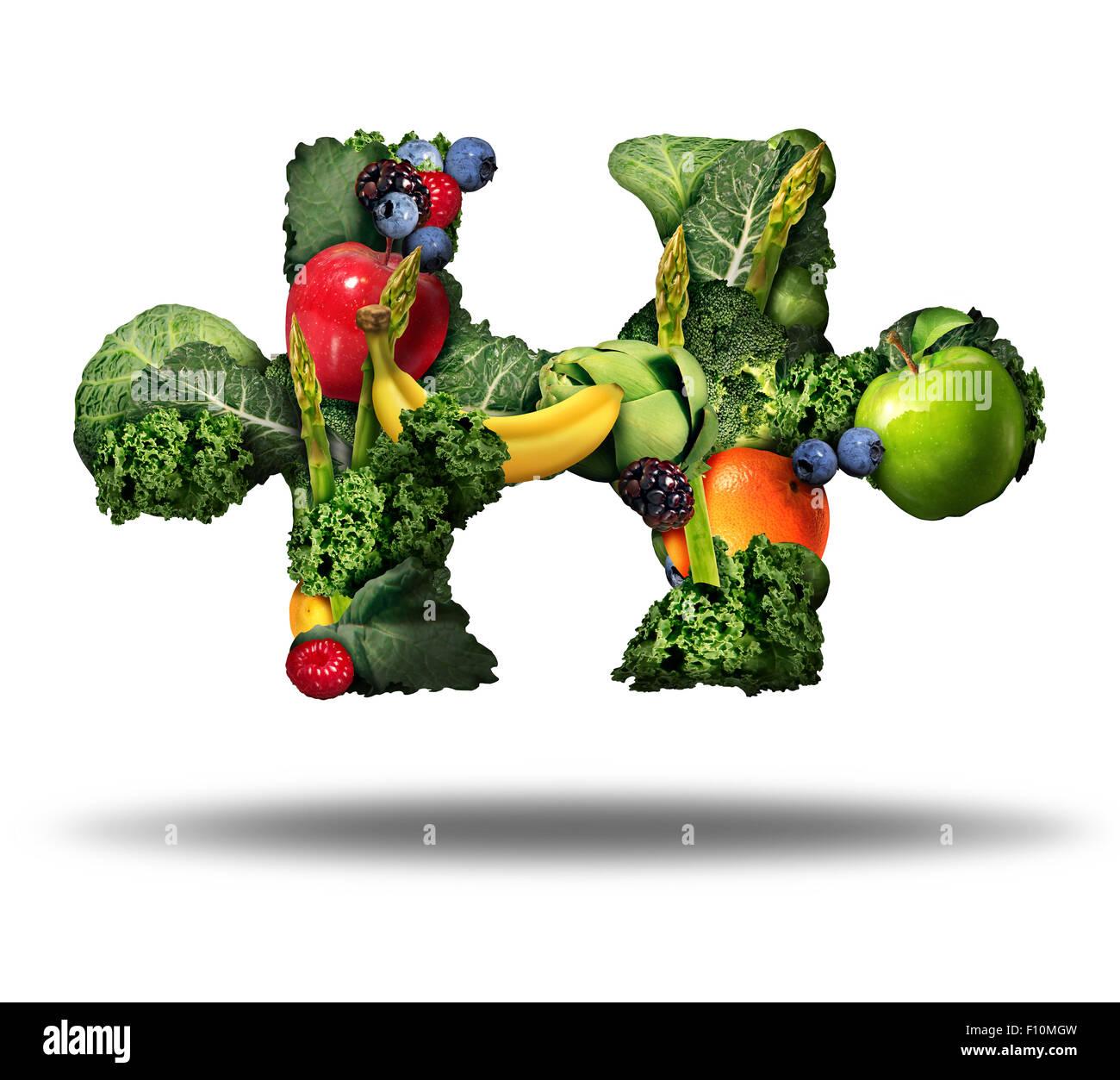 Gesunde Ernährung-Lösung und Essen frisches Obst und Gemüse-Symbol als Rohwaren, geformt wie ein Stockbild