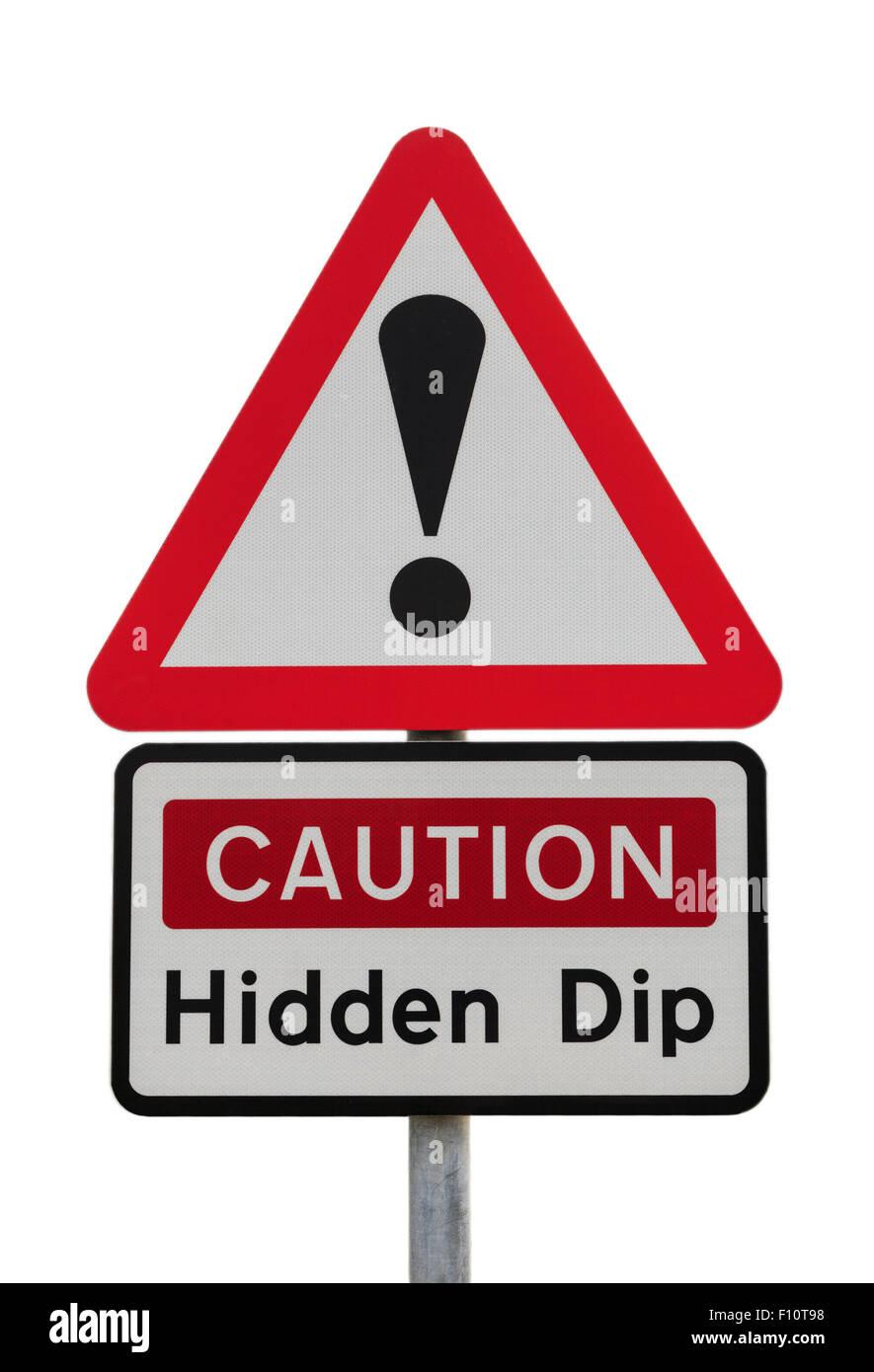 Dreieckige Schild Warnung Vorsicht versteckt Dip mit Ausrufezeichen um globale finanzielle Zukunftskonzept zu veranschaulichen. Stockbild