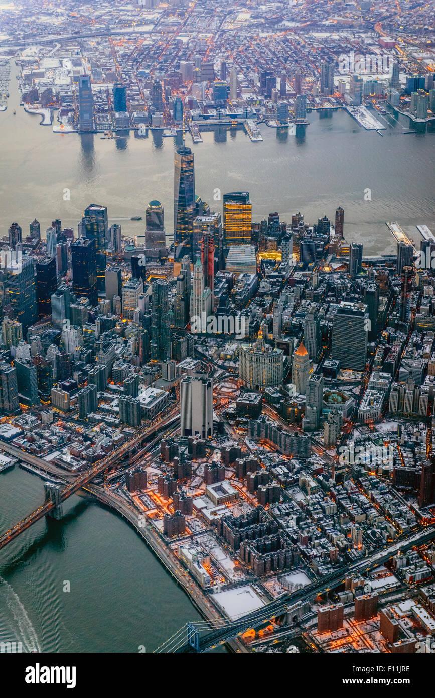 Luftaufnahme des Stadtbild von New York, New York, Vereinigte Staaten von Amerika Stockfoto