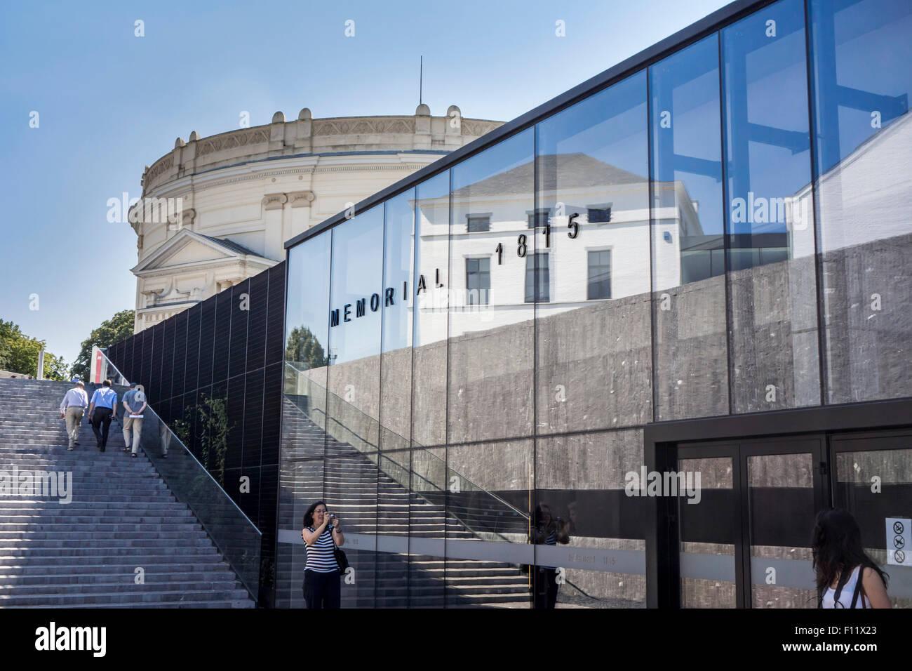Eingang der Gedenkstätte 1815 Museum und des Gedenkens Veranstaltungsort zum Gedenken an die Schlacht von Waterloo Stockbild