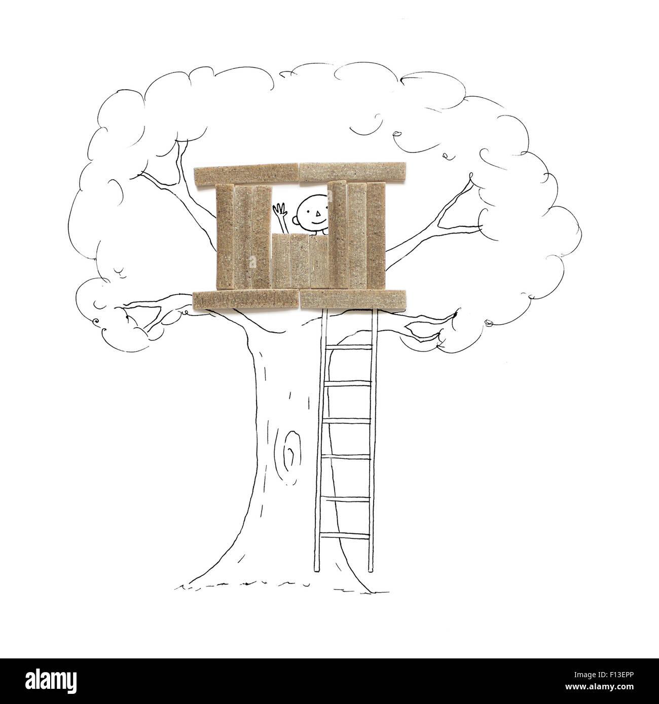 Konzeptionelle junge in einem Baumhaus Stockbild