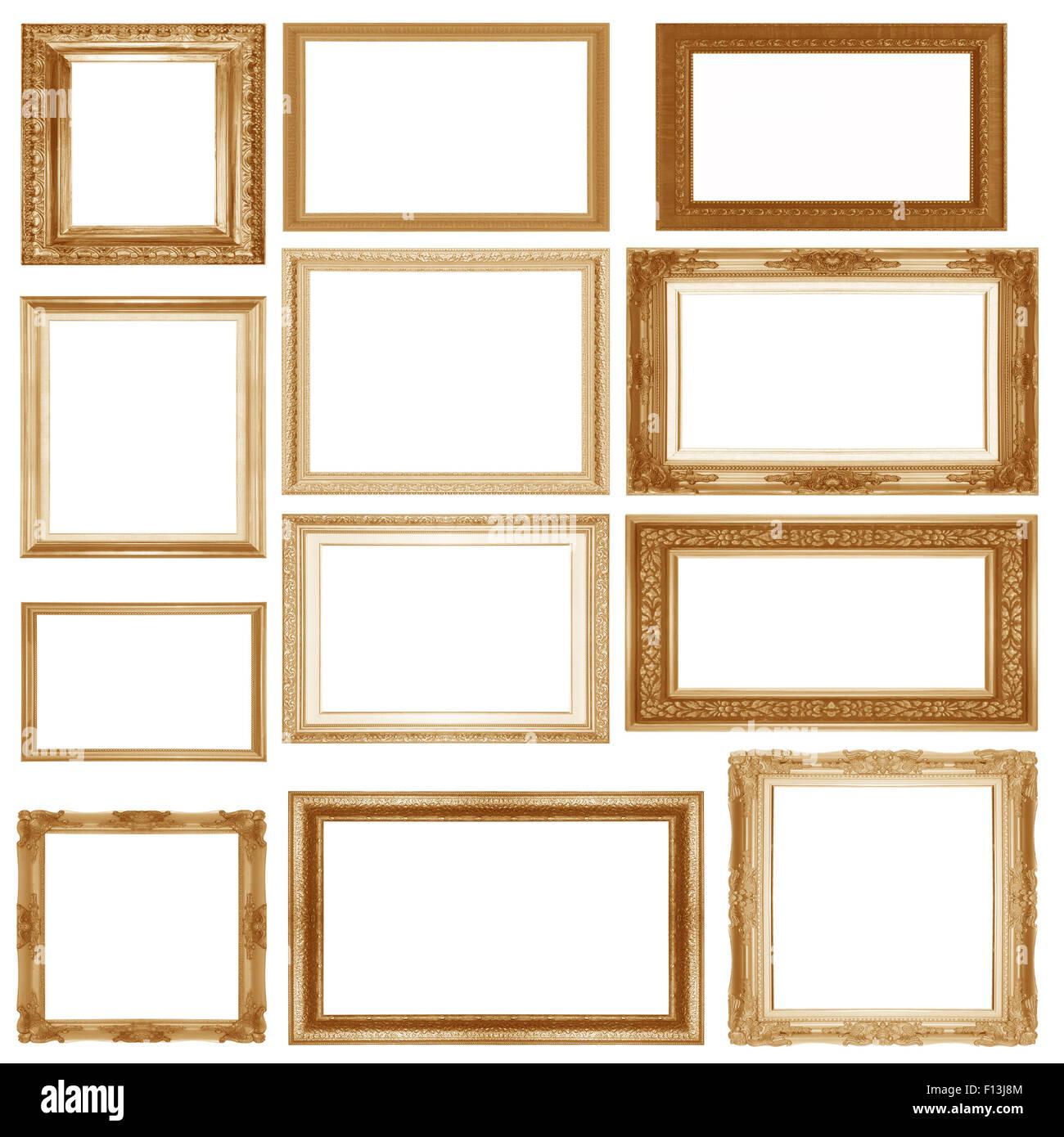 Set gold Bilderrahmen isoliert auf einem weißen Hintergrund ...