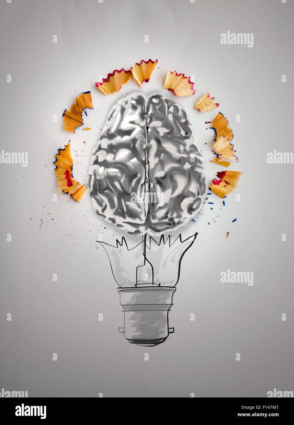 Hand Gezeichnet Glühbirne Mit Bleistift Sah Staub Und Gehirn
