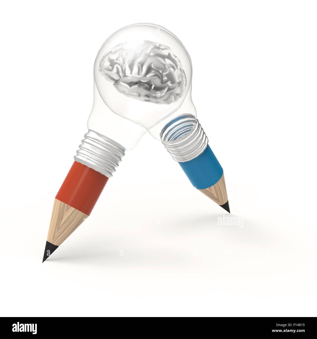3d Metall Menschlichen Gehirns In Bleistift Glühbirne Als