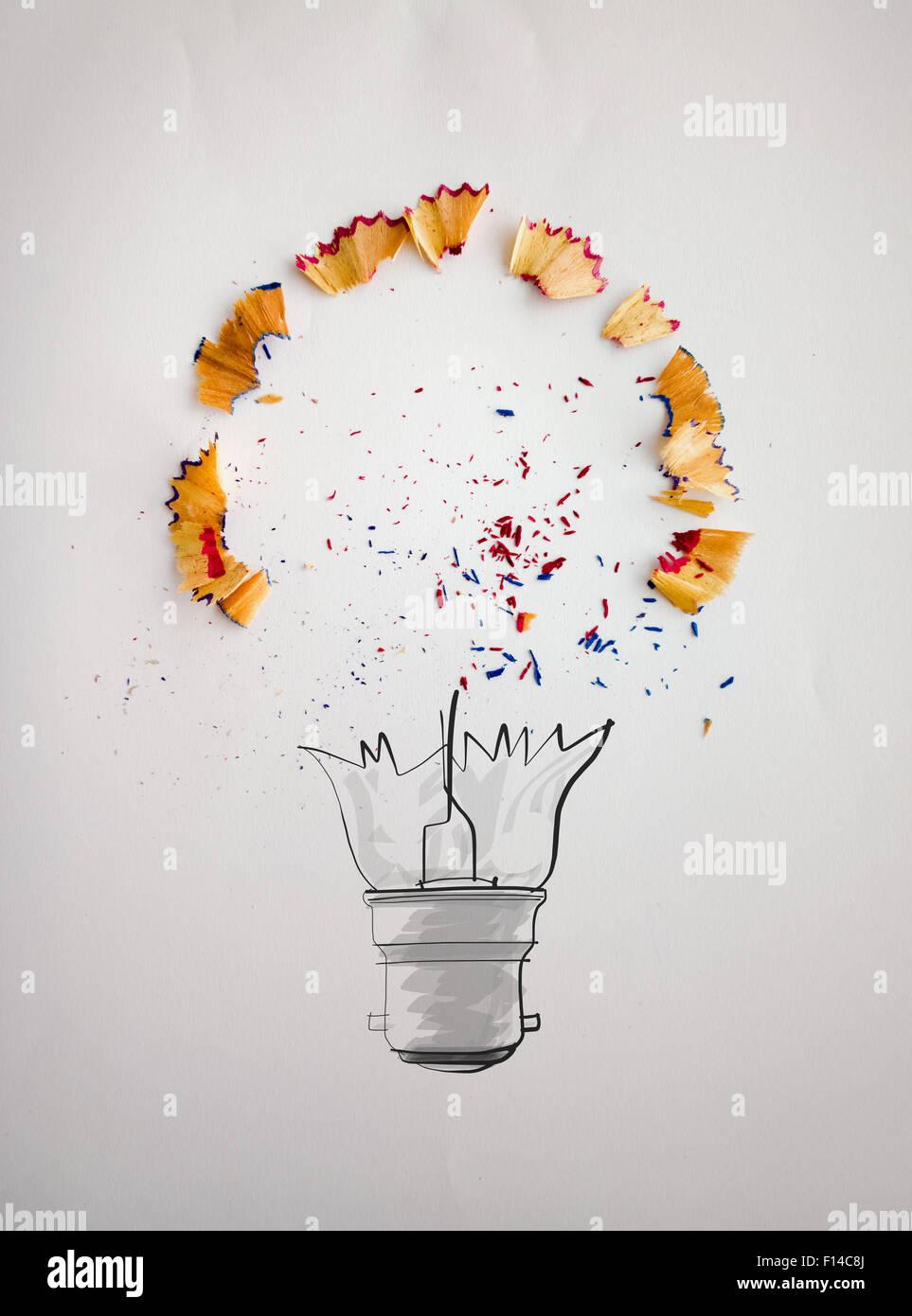 Hand Gezeichnet Glühbirne Mit Bleistift Sägespäne Auf