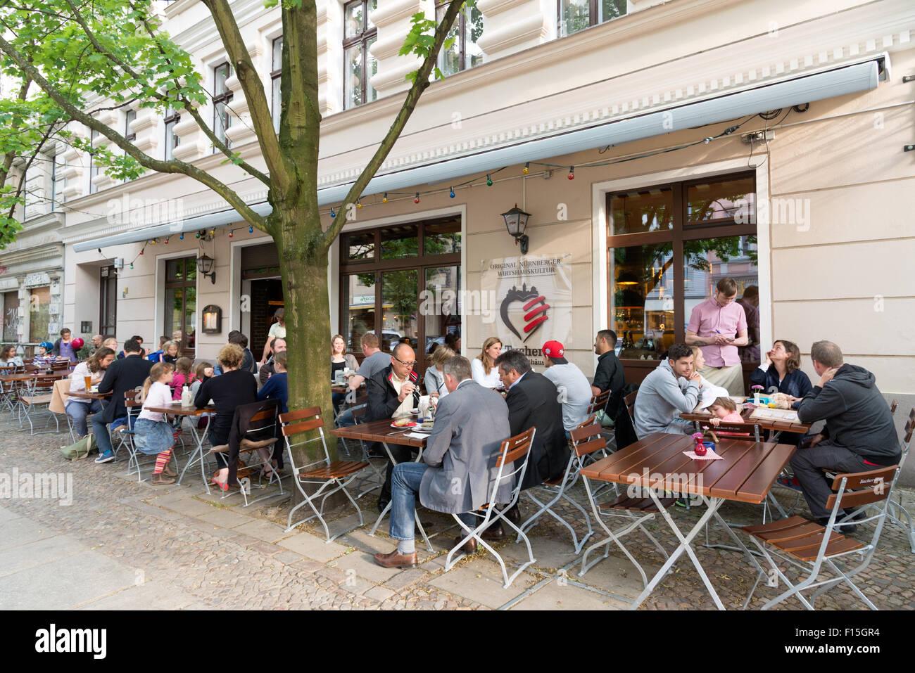 Restaurant im Bezirk Prenzlauer Berg, Berlin, Deutschland Stockfoto