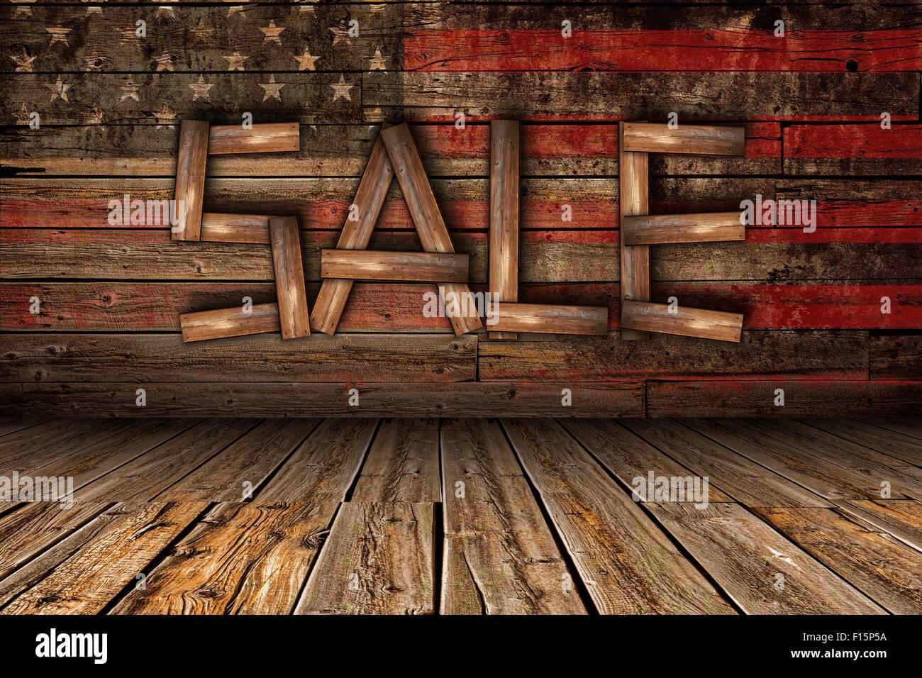 Amerikanische Holz Verkauf Business Concept Illustration Mit