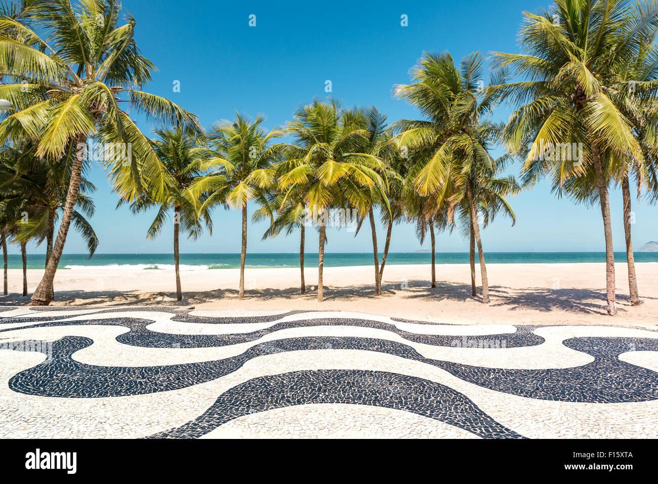 Palmen Sie und dem berühmten Copacabana Strand Mosaik Bürgersteig in Rio De Janeiro, Brasilien. Stockbild