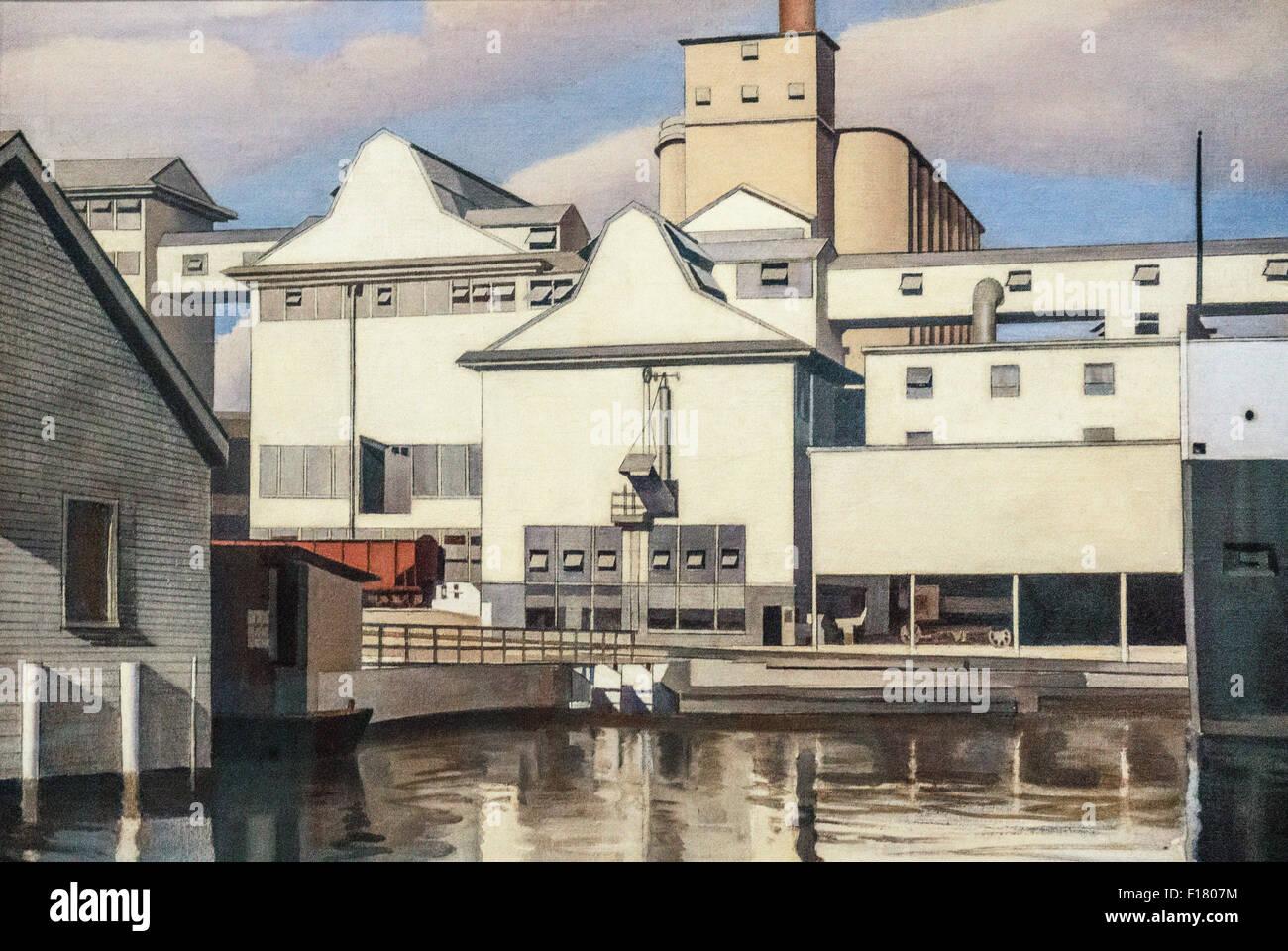 Ansicht des amerikanischen Malers Charles Sheeler 1932 eine Hommage an die industrielle Stärke & Schönheit Stockbild