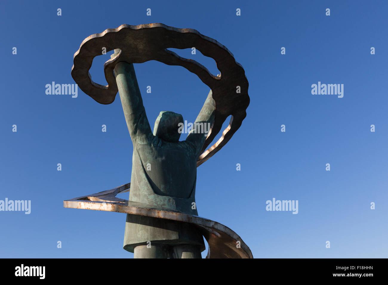 Denkmal für die Fischer auf See verloren, in Portt-En-Bessin, Calvados, Normandie, Frankreich Stockbild