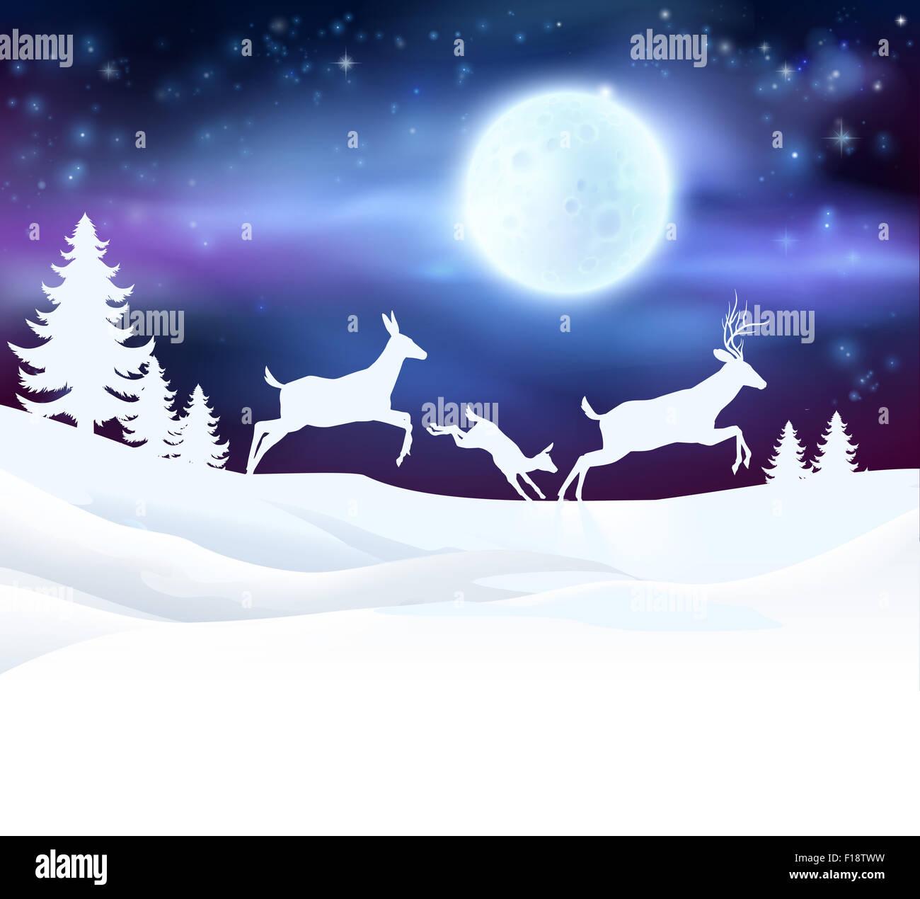 Ein Winter-Weihnachts-Szene mit einem Hirsch Familie laufen im ...