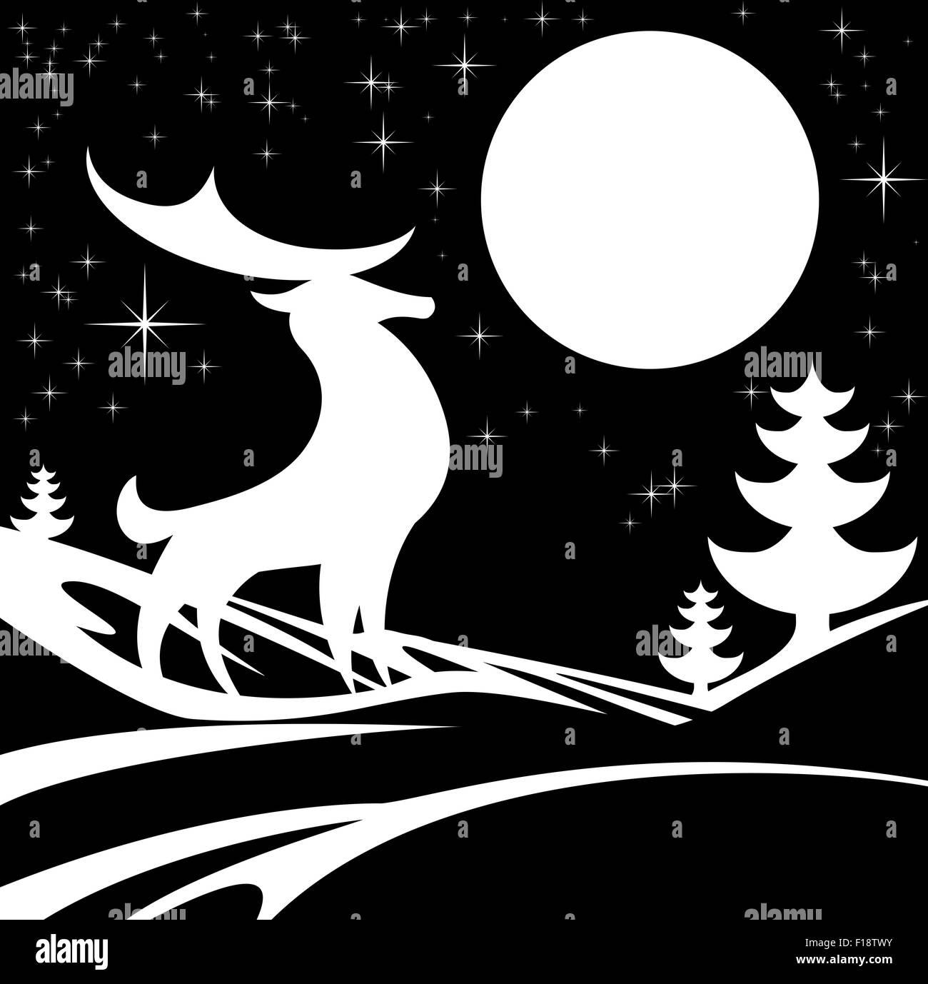 Stilisierte Schwarz-weiß Illustration des Winter-Weihnachts-Szene ...