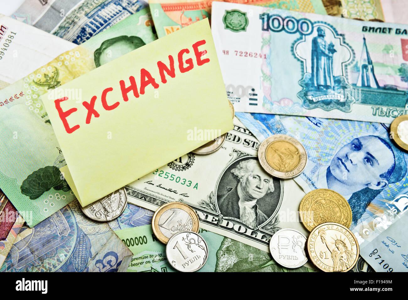 Sammlung von verschiedenen Geld, Geldwechsel Stockbild
