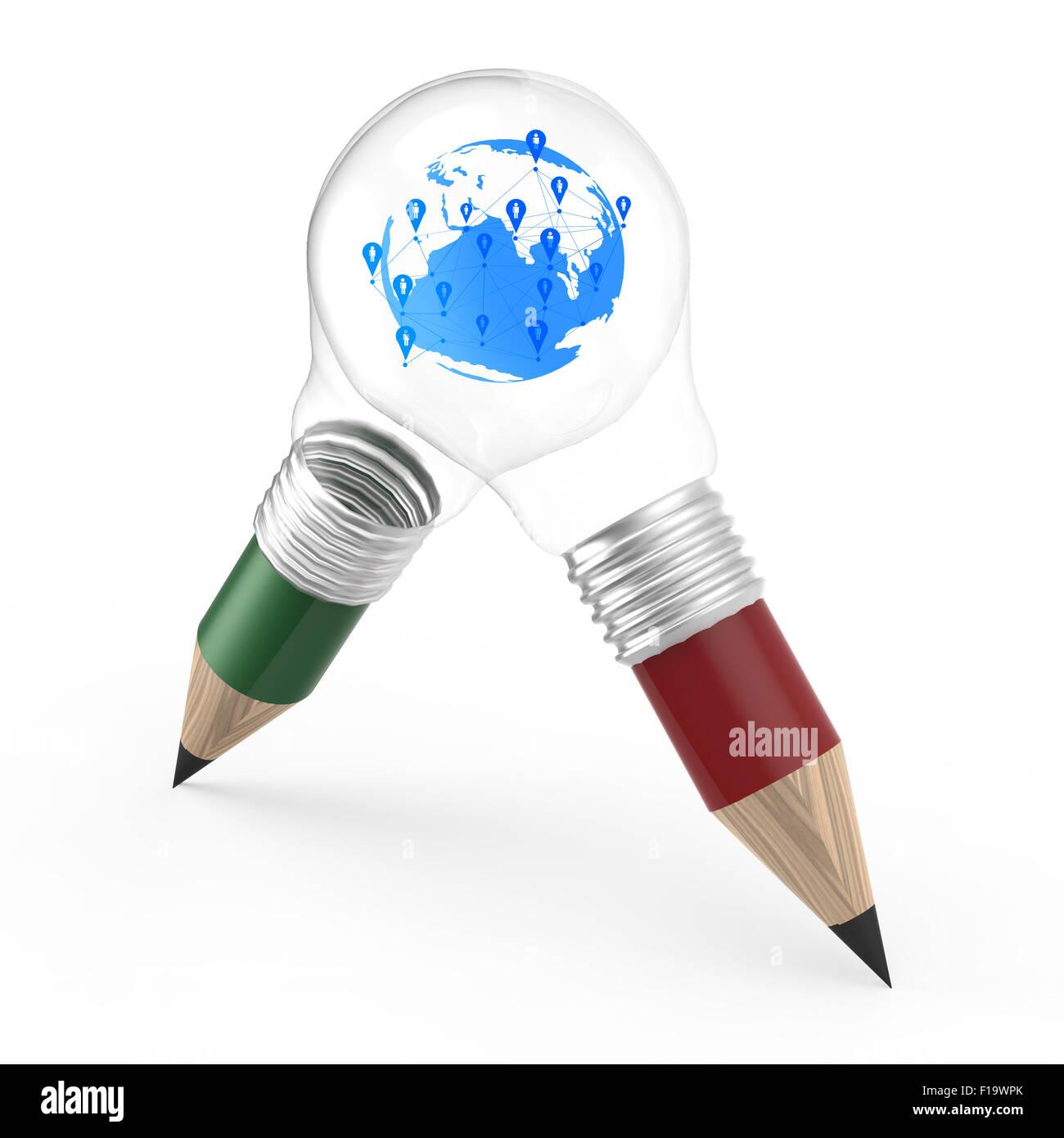 3d kreative Bleistift Glühbirne als Konzept kreativer leer und dein Wort hinzufügen Stockbild