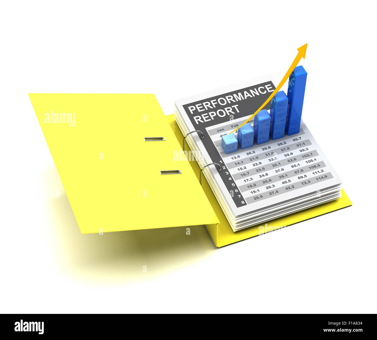 Business-Grafik in einem Ordner Stockbild
