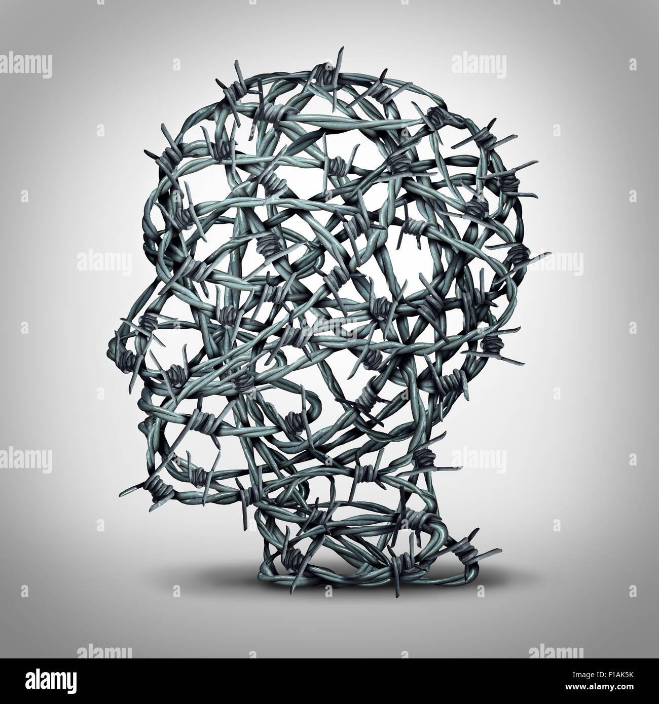 Gefoltert denken und Depressionen Konzept als eine Gruppe von Wirren Barbwire oder Stacheldraht Zaun Form eines Stockbild