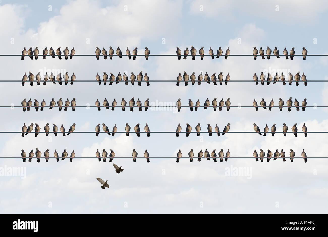 Gruppe-Management-Business-Konzept als Cluster der Vögel auf einem ...