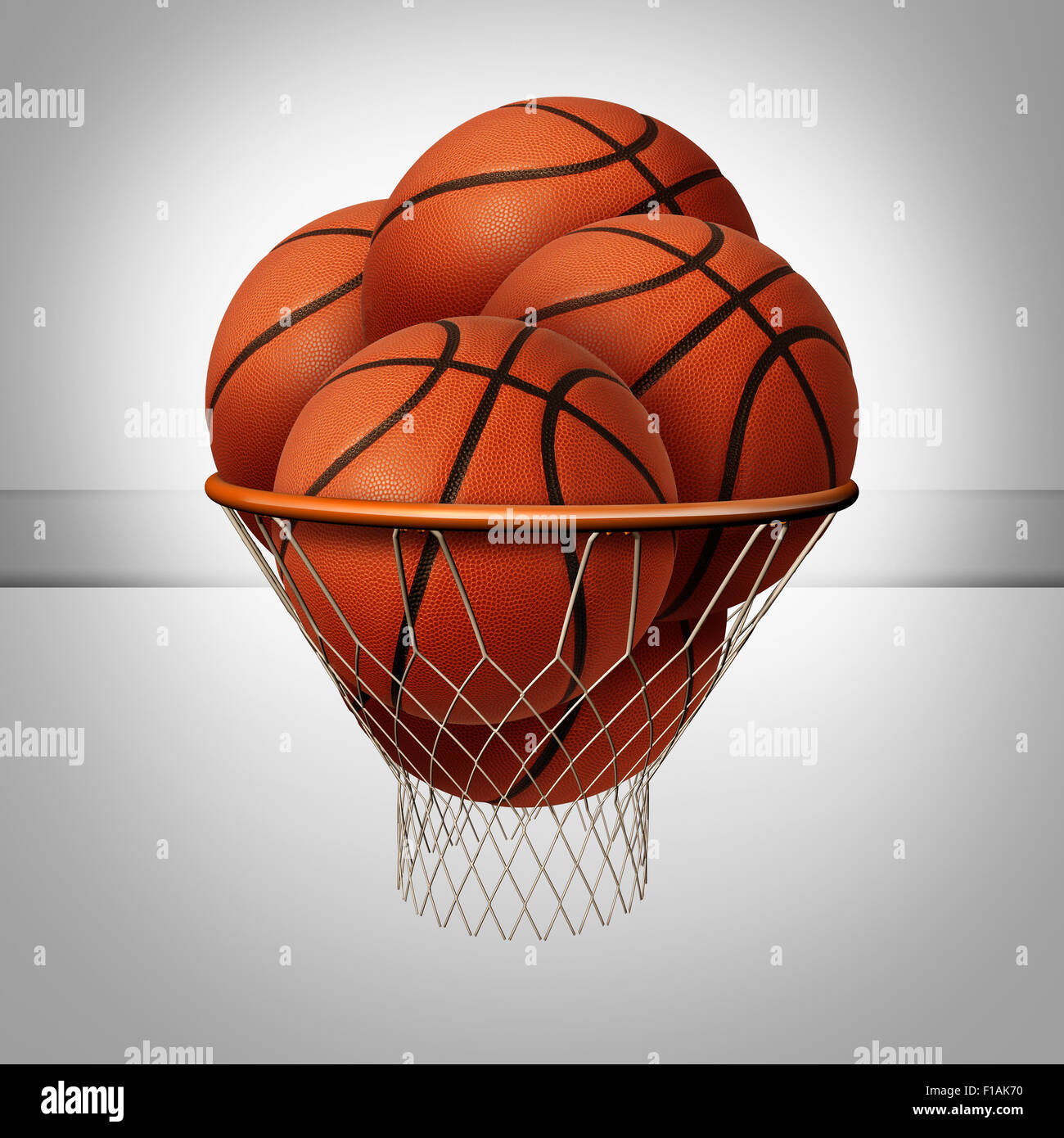 Wohlstand-Konzept und über den oberen Erfolgsgrad als eine Gruppe von Basketbälle in einen Basketballkorb Stockbild