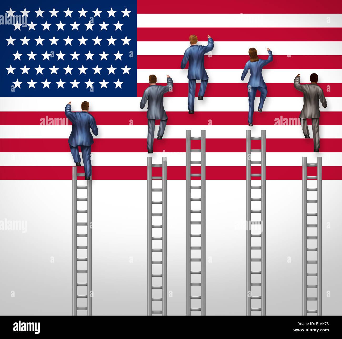 US-Wahl-Konzept als eine Gruppe von Kandidaten aus den Vereinigten Staaten Werbetätigkeit für Präsidenten Stockbild