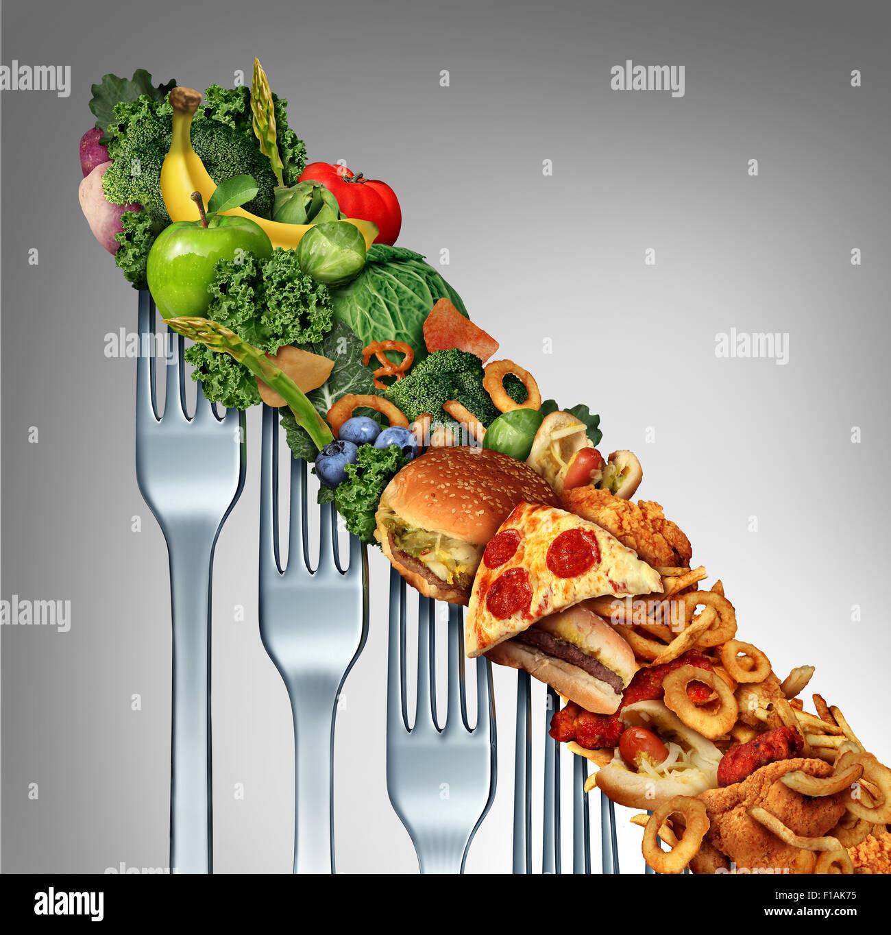 Diät-Rückfall Veränderungen wie eine gesunde Lebensweise langsam nach unten zu fettiges ungesundes Stockbild