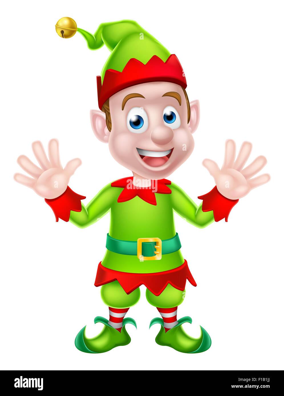 Cartoon Weihnachtself oder Weihnachten Santa Helfer winkt mit beiden ...
