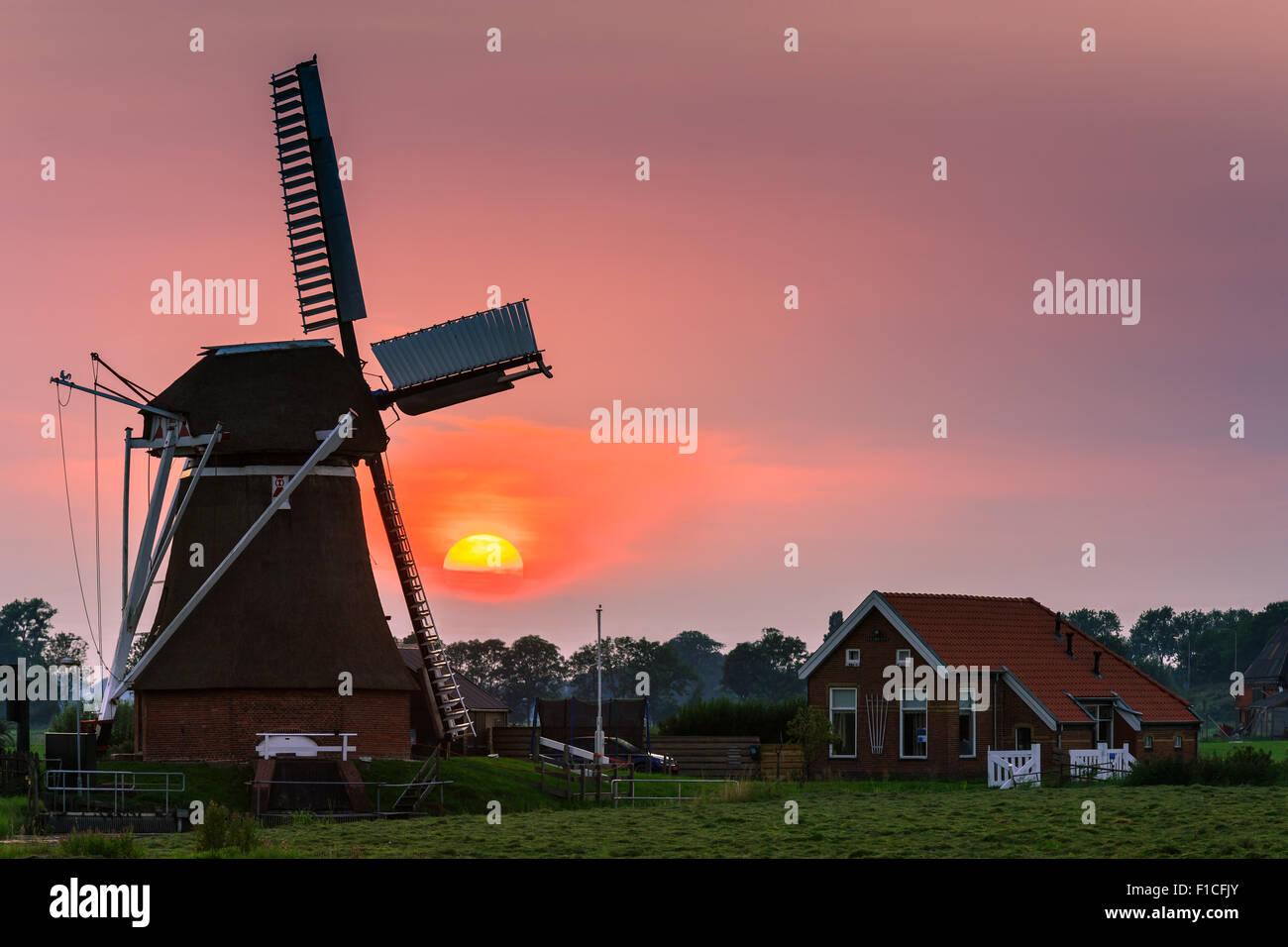Windmühle De Jonge Held (der junge Held) bei Leegkerk, etwas außerhalb von Groningen, Niederlande. Stockbild