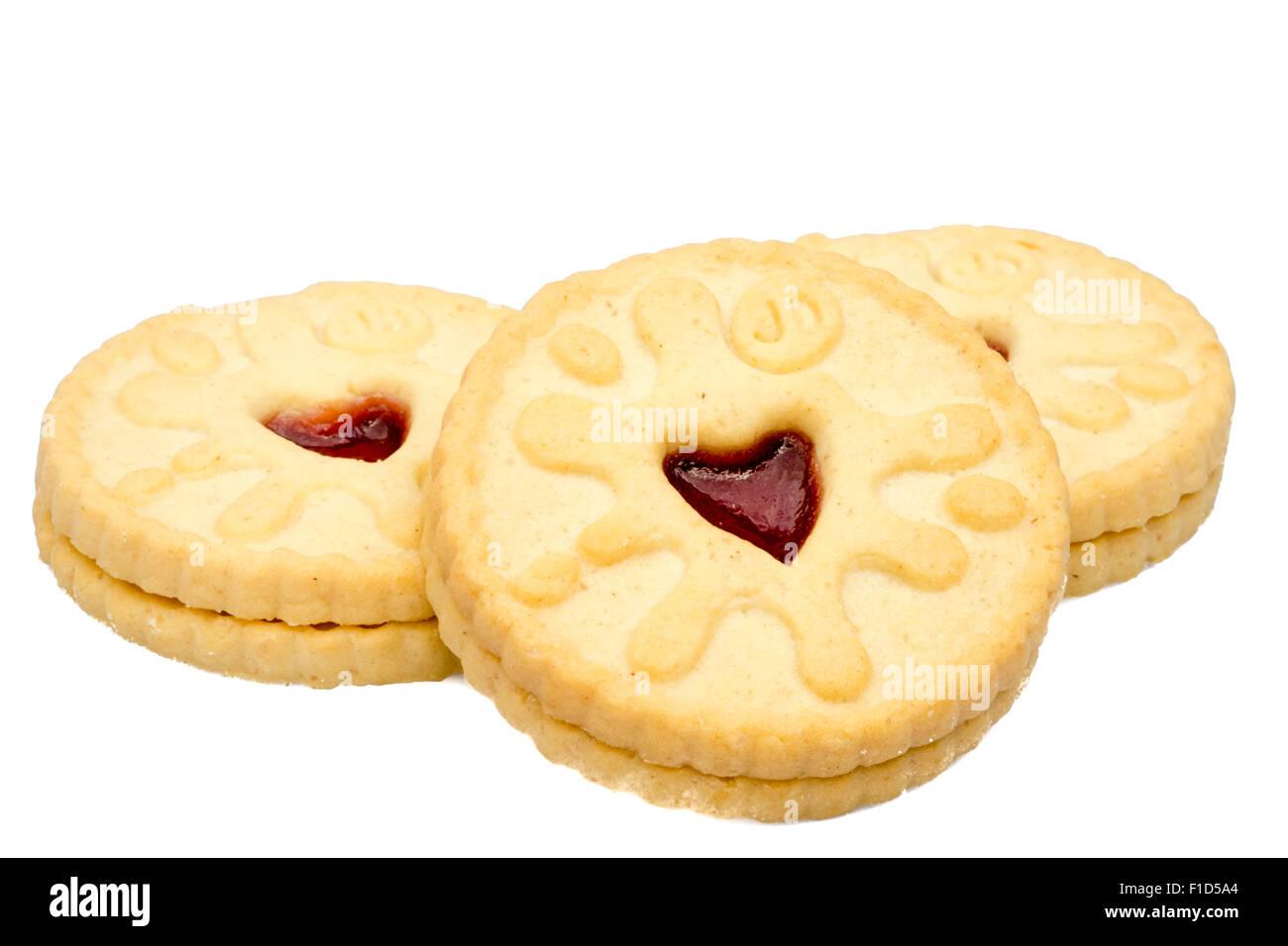 Kekse ausstechen oder auf einem weißen Hintergrund, UK isoliert. Stockbild