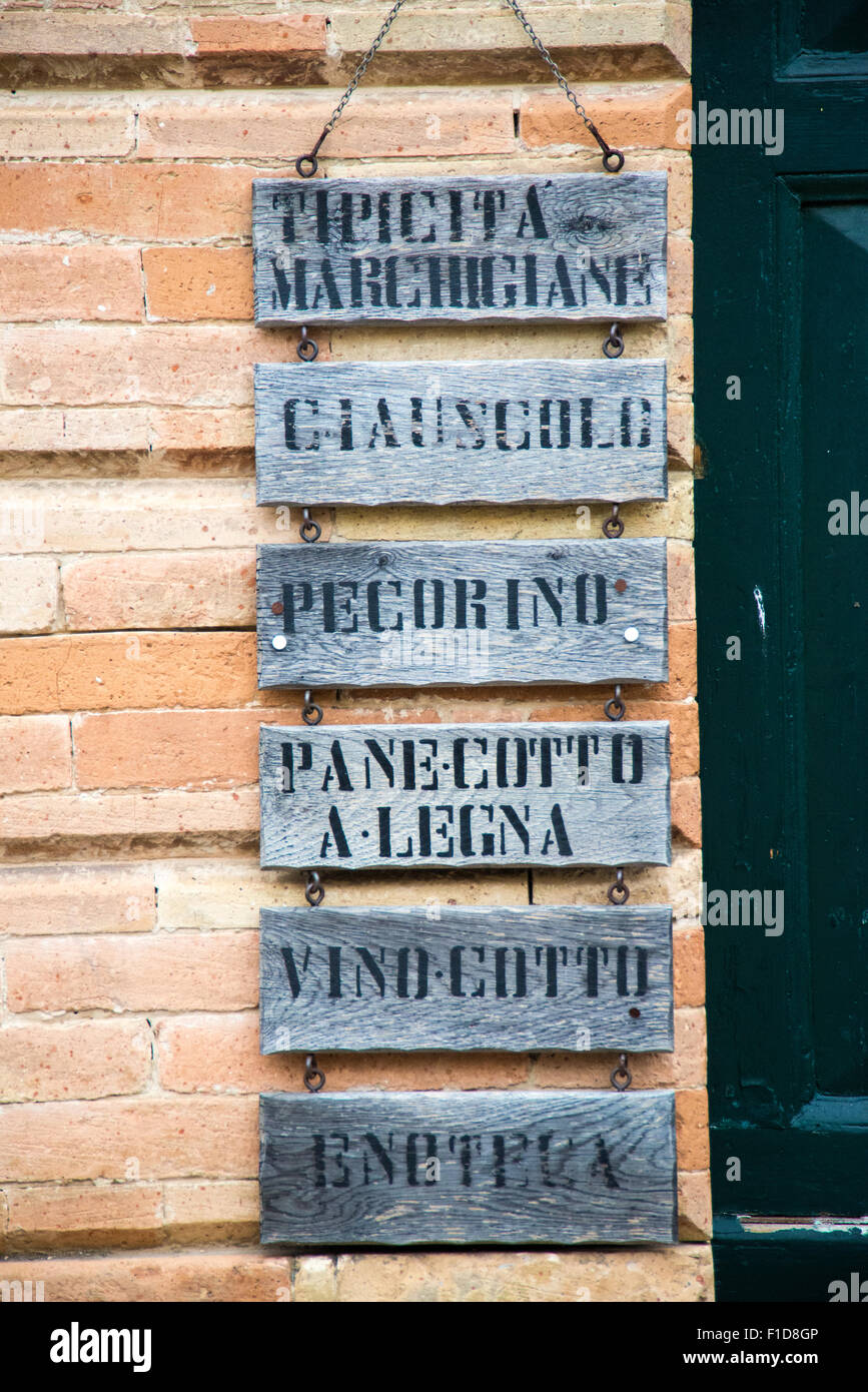 Italienische Marken-Spezialitäten Stockbild