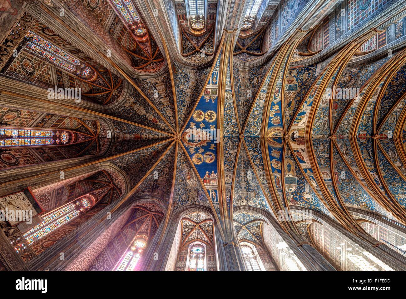 Albi Kathedralendecke mit Fresken. Kathedrale Basilica von Sankt Cecilia Basilika Cathédrale Sainte-Cécile Stockbild
