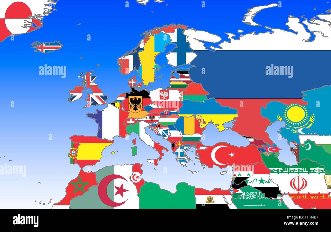 Symbolbild: Eruopa, Naher Osten Und Nordafrika: Laenderumrisse Mit Flaggen / symbolischen Bild: Europa, Naher Osten Stockbild