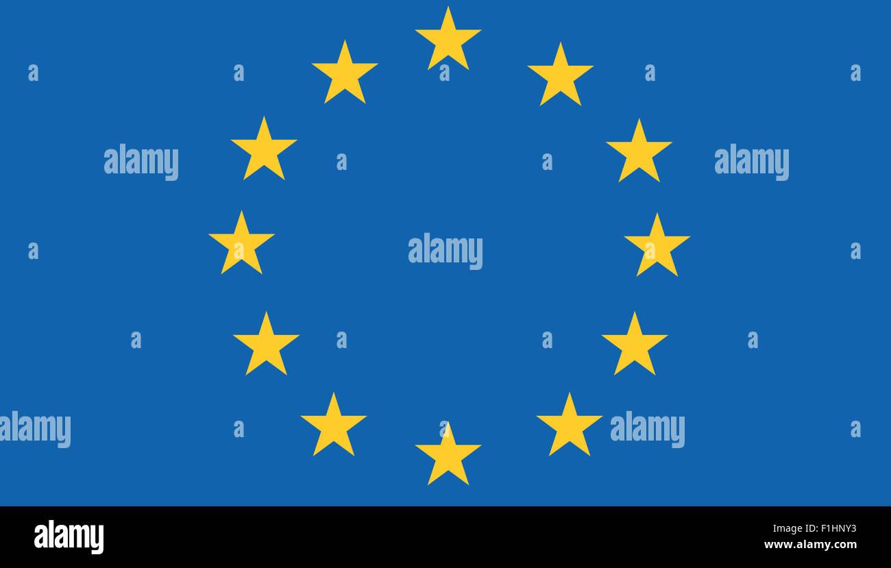 Fahne: Europaeische Union / Flagge: Europäische Union. Stockbild