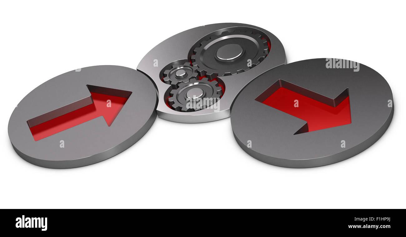 Geben Sie Prozess und Output-Modell. Zwei Metall-Zylinder mit roten Pfeilen im Inneren und eine mit Zahnräder Stockbild