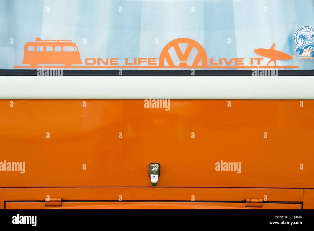 Vw Volkswagen Camper Van Heck Fenster Mit Aufkleber Ein