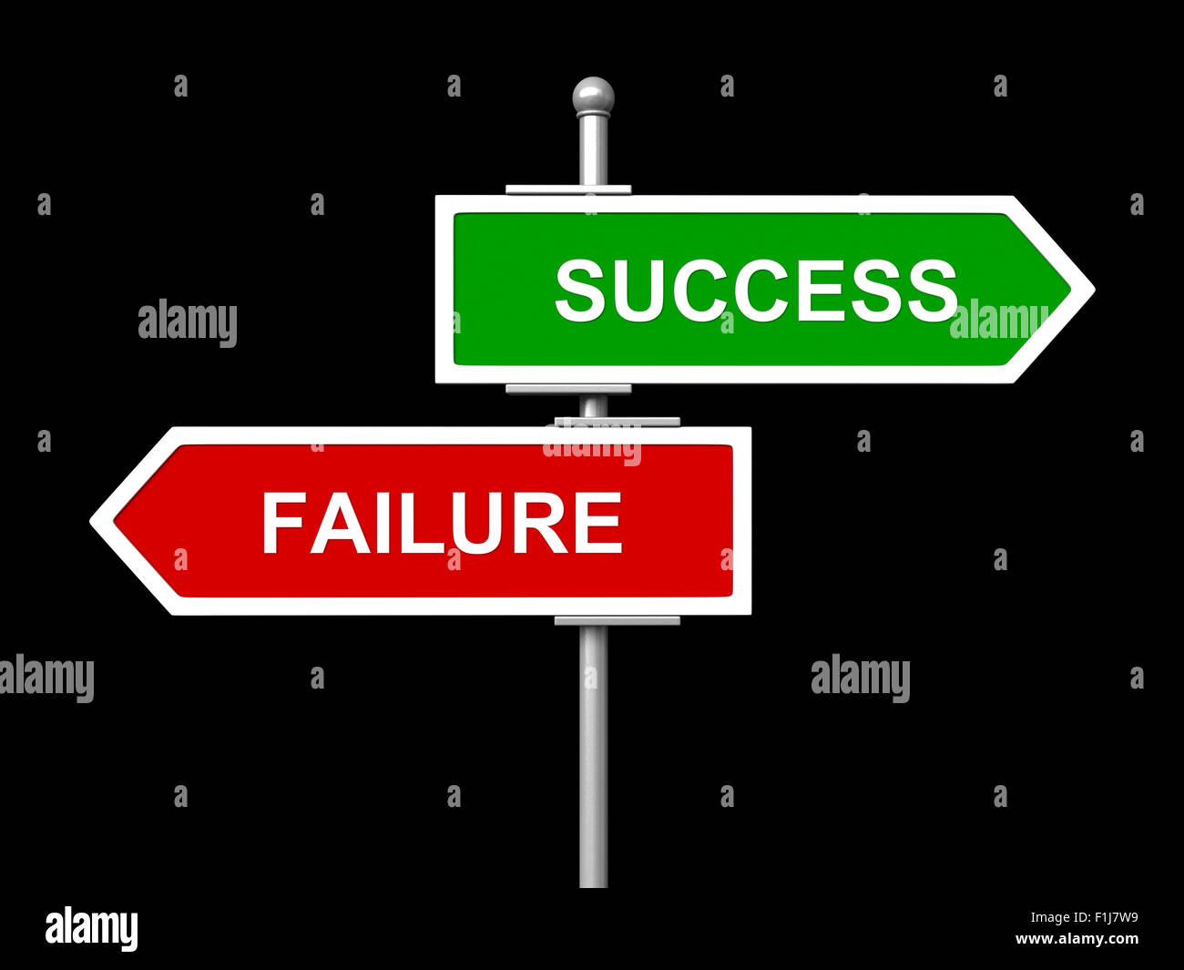 Erfolg und Misserfolg Straße Zeichen isoliert auf schwarzem Hintergrund Stockbild