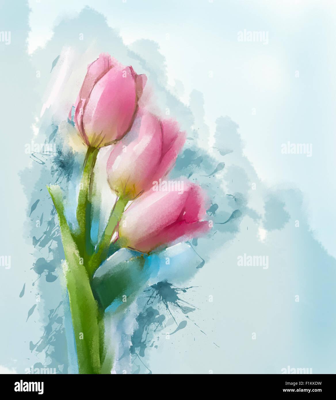 Rote Tulpen Blumen Malen Mit Blauer Farbe Hintergrund Stockfoto