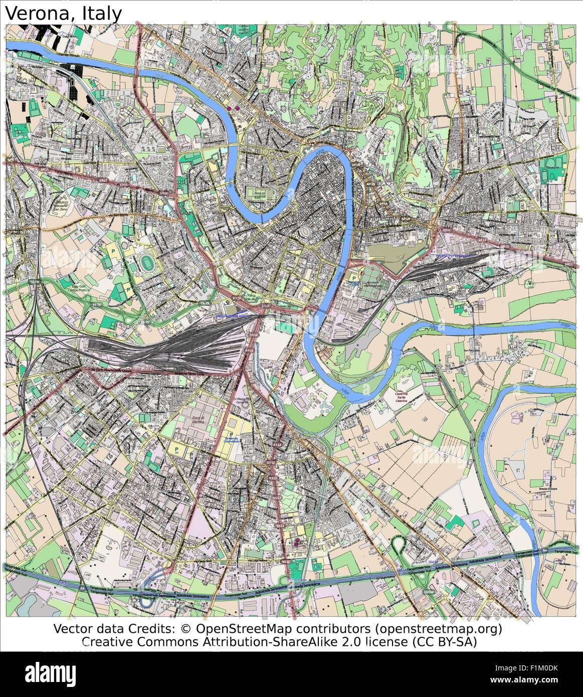 Verona Italien Karte.Verona Italien Karte Luftbild Vektor Abbildung Bild 87105919 Alamy