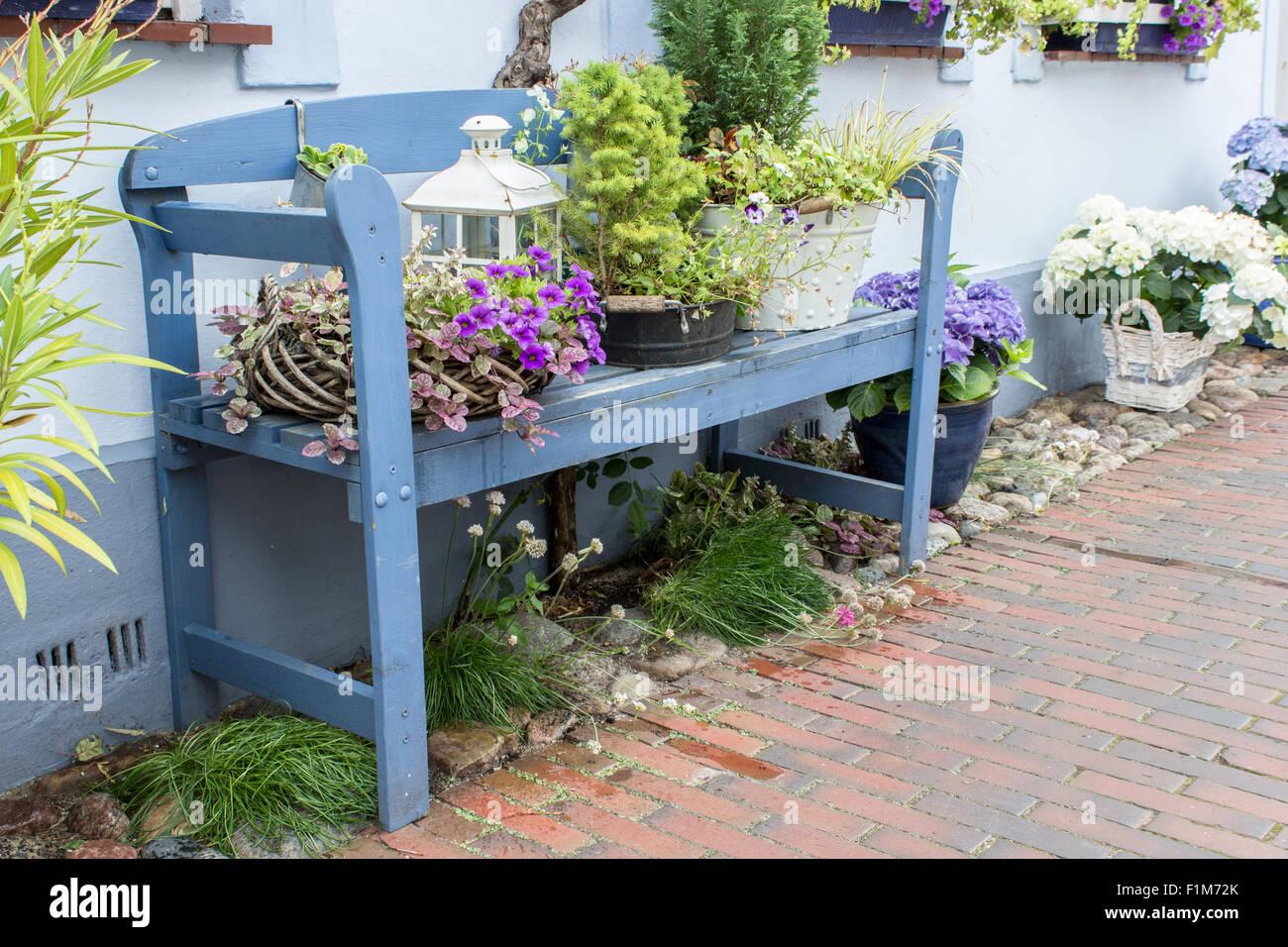 blaue gartenbank vor dem haus mit blumen und dekoration. Black Bedroom Furniture Sets. Home Design Ideas