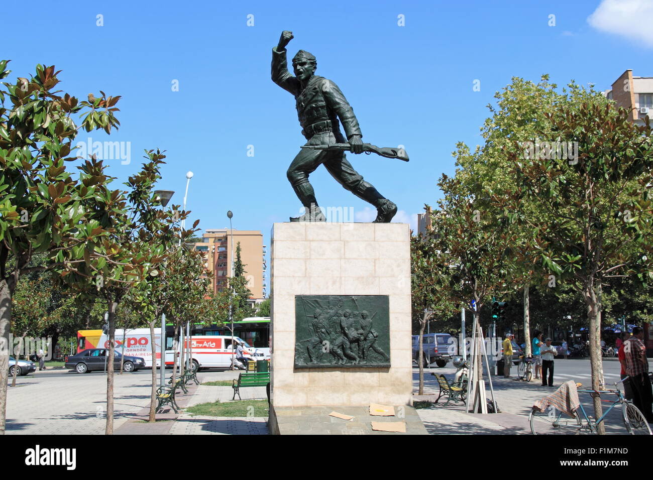 Denkmal für einen unbekannten Partisan, Rruga Xhorxhi W Bush, Tirana, Albanien, Balkan, Europa Stockfoto
