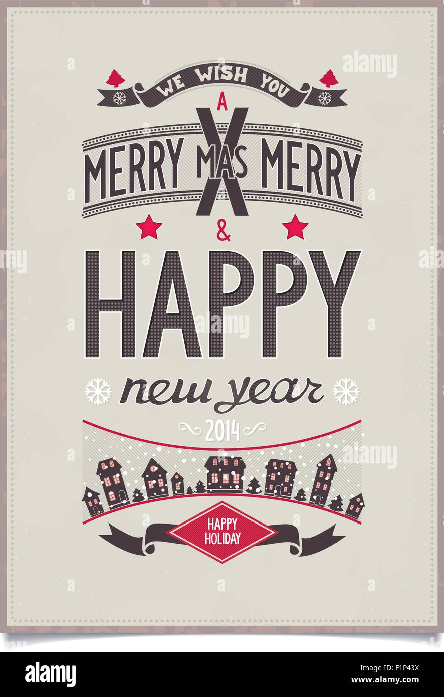 Frohes neues Jahr wünscht Karte Design im Stil der Retro-Plakat auf ...