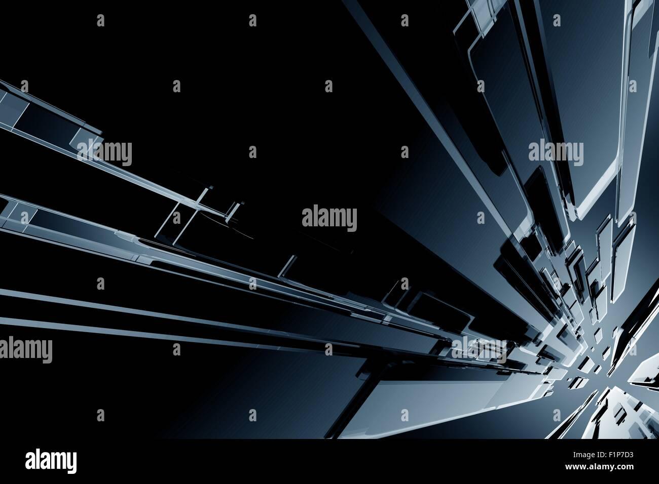 Dunkle Schwarze Glasig 3d Blöcke Hintergrund Cool Dark 3d Gerendert